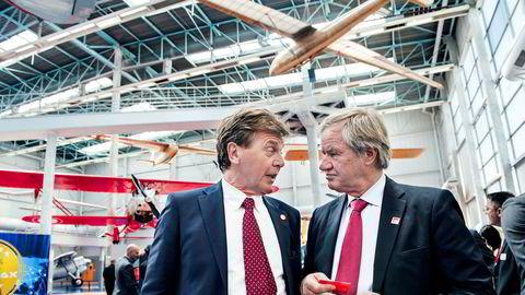 Norwegians styreleder Bjørn H. Kise (t.v) og Norwegian-sjef Bjørn Kjos.