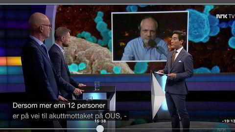 Overlege Preben Aavitsland (på skjermen) og helseminister Bent Høie var to av deltagerne på Debatten 3. mars. Dagen etter ville Høies fremste byråkrat snakke med sjefen til Aavitsland. På bildet er også programleder Fredrik Solvang og helsedirektør Bjørn Guldvog.