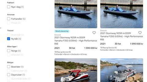 TB Rep og Service har flere båter liggende ut på Finn hvor bitcoin er listet opp som mulig betalingsmiddel.