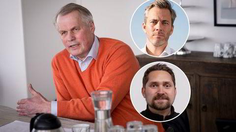 Laksegründer Gustav Witzøe har sagt det er aktuelt med utflytting fra Norge for å slippe formuesskatten. Otovo-gründer Andreas Thorsheim (innfelt øverst) og Oda-gründer Karl Munthe-Kaas (innfelt nederst) reagerer på Witzøes uttalelser.