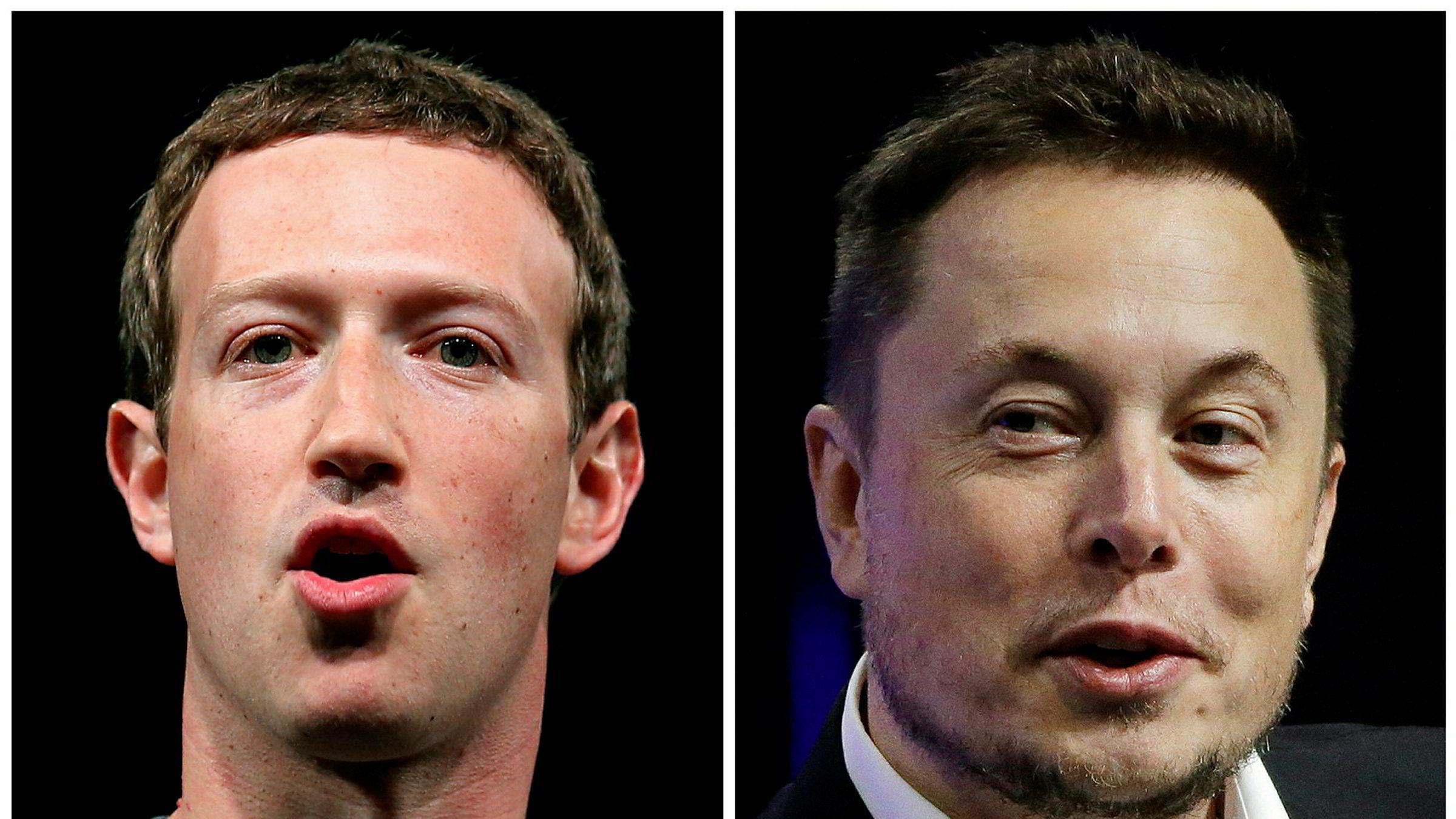 Mark Zuckerberg (til venstre) og Elon Musk er totalt uenige om det meste når det gjelder kunstig intelligens.
