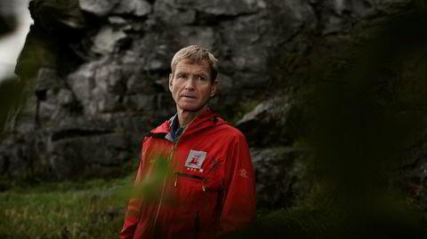 Fjellets mann. Lars Harald Blikra er geologen i NVE som oppdaget og passer på fjellet Mannen. Her er han fotografert ved Kjerringberget i Trondheim.