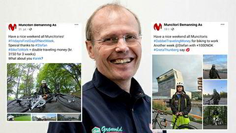 Daglig leder Magne Lilloe i bemanningsselskapet Muncitori Bemanning tilbyr sine ansatte 1000 kroner i uken hvis de sykler til jobb.