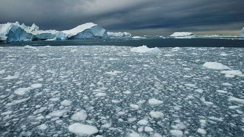 Smeltende is utenfor Ilulissat på Grønland.
