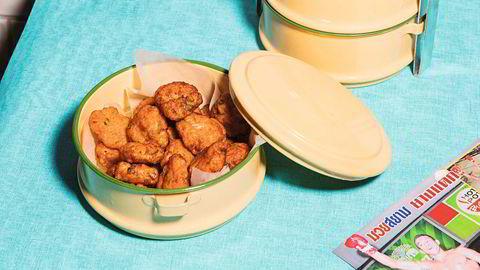 Fiskekaker med currypaste, Tod mun plah. Se oppskrift i artikkelen.