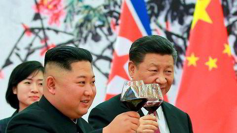Nord-Koreas leder Kim Jong-un besøkte Kinas president Xi Jinping i Beijing 19. juni.