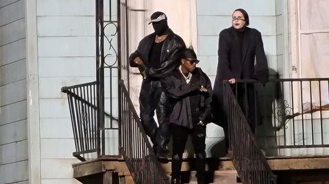Kontroversiell gjeng: Rapperen DaBaby (fra venstre), Kanye West og Marilyn Manson i Chicago forrige uke, på en lyttefest for albumet «Donda».