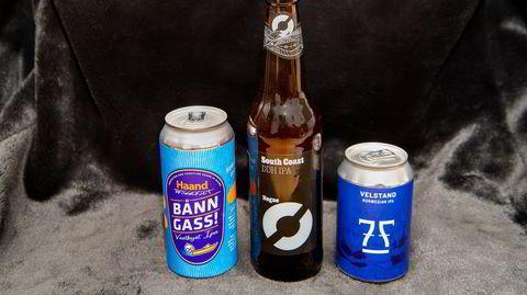 Nøgne Ø South Coast, 7 Fjell Velstand Norwegian IPA og Haandbryggeriet Bånn Gass! er alle fruktige IPA-er brygget på norsk malt.